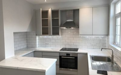 Matt light grey kitchen
