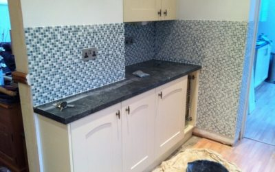 Kitchen finished with mosaic tiles