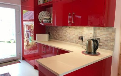High gloss red kitchen